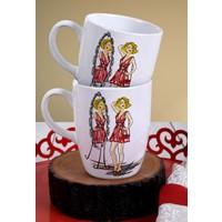 Keramika 2 Adet 9 Cm Havalı Kadınlar Mirror Bulut Kupa