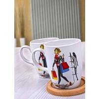 Keramika 2 Adet 9 Cm Havalı Kadınlar Shopping Bulut Kupa