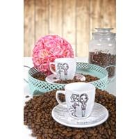 Keramika 4 Parça 2 Kişilik Gossıp Time Kahve Takımı