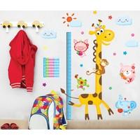 Zooyoo Gelişim Boy Ölçer Boy Tablosu Zürafa Maymun Fil Çocuk Odası Duvar Sticker Büyük Görsel Gönderilir