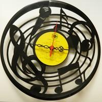 Plak Dekoratif Duvar Saati - Müzik Temalı
