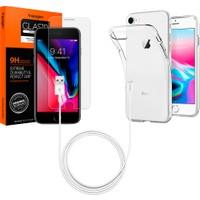 Spigen Apple iPhone 8 - iPhone 7 Aksesuar Seti (Ekran Koruyucu - Kılıf - Kablo) - 054SE22604