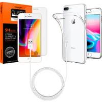 Spigen Apple iPhone 8 Plus - iPhone 7 Plus Aksesuar Seti (Ekran Koruyucu - Kılıf - Kablo) - 055SE22605