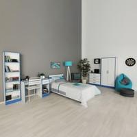 Hepsiburada Home Happy Genç Odası Seti (Mavi - Beyaz) Gardırop + Karyola + Masa + Kitaplık + Şifonyer