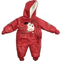 Buude Kız Bebek Astronot Kozmonot Patikli Eldivenli Tulum Kırmızı