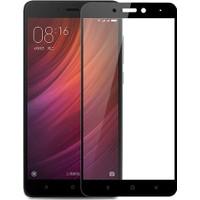 Case 4U Xiaomi Redmi Note 4 Tam Kaplayan Temperli Cam Ekran Koruyucu Siyah