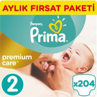 Prima Bebek Bezi Fırsat Paketi Mini Aylık Premium Care 2 Beden 204 Adet