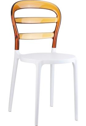 Siesta Contract Miss Bibi Sandalye - Beyaz - Kahverengi
