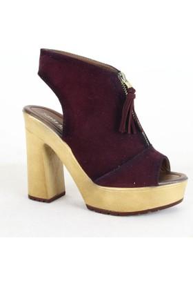 Santa Marina 7075 Bayan Süet Topuklu Ayakkabı Bordo