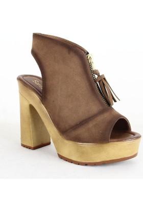 Santa Marina 7075 Bayan Süet Topuklu Ayakkabı Taba