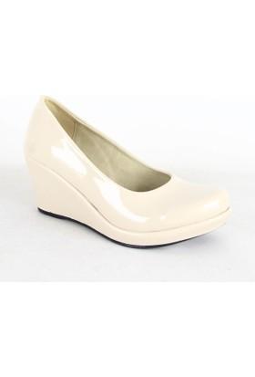 Treks Tecer 141 Rugan Dolgu Topuk Bayan Ayakkabı Krem