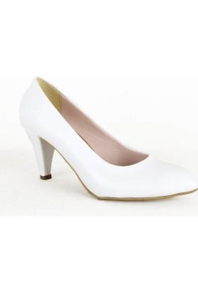 Yeystore 316 Klasik Bayan Topuklu Ayakkabı Beyaz