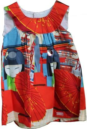 Monna Rosa Japon Baskılı Elbisesi