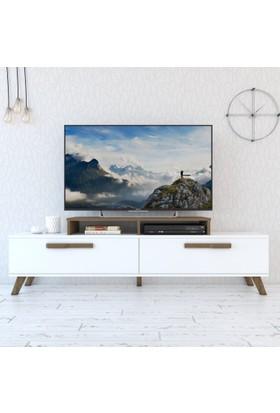 Eyibil Mobilya Gamze 180 cm Modern Tv Sehpası Tv Ünitesi Beyaz Ceviz