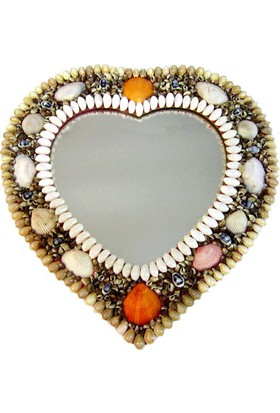 Deniz Kabuklu Kalp Ayna 35x36x1.5 cm