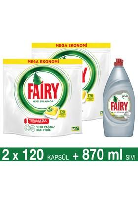 Fairy Hepsi Bir Arada Bulaşık Makinesi Deterjanı Kapsülü Limon Kokulu 120 Yıkama 2'li Paket + Platinum Sıvı Bulaşık Deterjanı Limon 870 ml