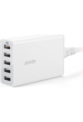Anker PowerPort 5 40W Masaüstü ve Seyahat Şarj Cihazı - Beyaz