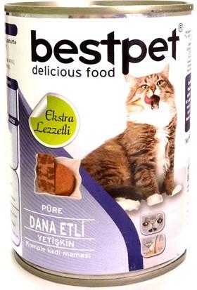 Bestpet Püre Kıyılmış Dana Etli Konserve Yetişkin Kedi Maması 400 gr