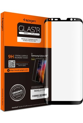 Spigen Samsung Galaxy S8 Full Cover Kavisli Cam Ekran Koruyucu Tam Kaplayan - 565GL21777