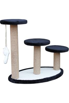 Agira Elips Üçlü Oyuncaklı Kedi Tırmalama Standı 56 Cm