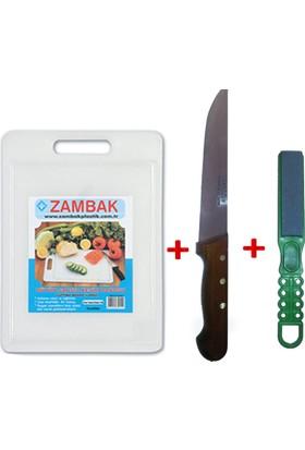 Sürmene El Yapımı Kurban Kesme Bıçağı + Bıçak Bileyici + Et Kesme Tahtası 3'lü Set
