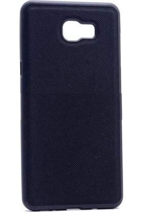 Case 4U Samsung Galaxy C9 Pro Kumaş Kaplama Silikon Siyah + Cam Ekran Koruyucu