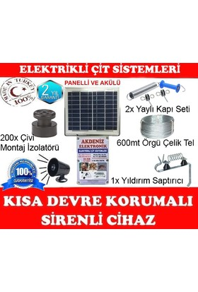 Sirenli & Solar Güneş Enerjili Elektrikli Çit Set -3