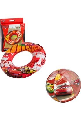 Mondo Cars Havuz Seti / Şişme Can Simidi ve Deniz Topu Şeklinde