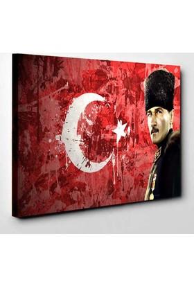 Rumeli Tablo Bayrak ve Atatürk Led Işıklı Kanvas Tablo