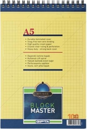 Gıpta Blok Master Spiralli Karton Kapaklı Blok.A5-100 Yaprak Kareli
