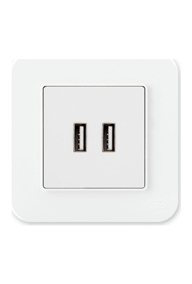 Günsan Radius Fildişi Beyazı 2 Çıkışlı USB Şarj Prizi, 5V, 2.1A
