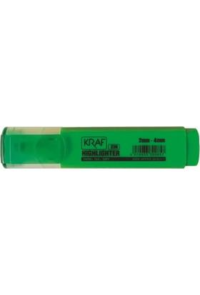 Kraf 330 Fosforlu Kalem 12'li Paket Yeşil