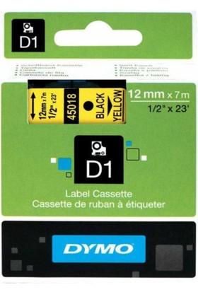 Dymo D1 Yedek Şerit 12mmx7mt Sarı/Siyah (45018)