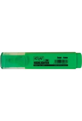 Kraf 333 Fosforlu Kalem Yeşil 10'lu Paket