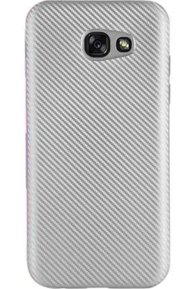 Gpack Samsung Galaxy A5 2017 Kılıf Karbon Kaplama Rubber Gümüş