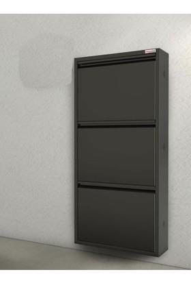 Pappuchbox Dz-1000 3'Lü Siyah Metal Ayakkabılık