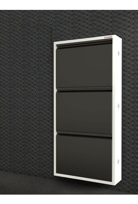 Pappuchbox Dz-1000 3'Lü Beyaz-Siyah Metal Ayakkabılık