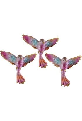 Uçan Kuş Duvar Süsü 3 lü Pembe