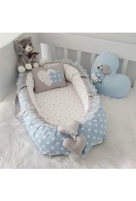 Modastra Babynest Gri - Beyaz Yıldız Desenli Babynest Set