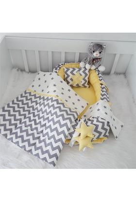 Modastra Babynest Siyah - Sarı Zigzag ve Yıldız Desenli Uyku Seti Baby Nest