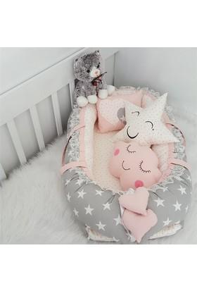 Modastra Babynest Pudra - Gri Yıldız Desenli Uyku Seti Baby Nest