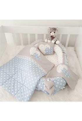 Modastra Babynest Gri - Turkuaz Yıldız Desenli Uyku Seti Baby Nest