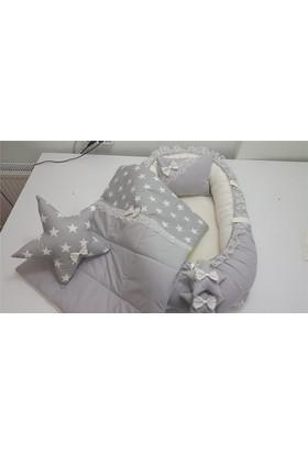 Modastra Babynest Gri Yıldız Desenli Uyku Seti Baby Nest