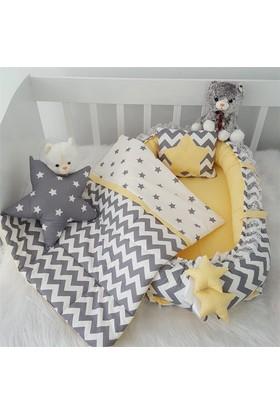 Modastra Babynest Sarı Zigzag Ve Yıldız Desenli Uyku Seti Baby Nest