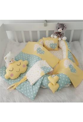 Modastra Babynest Sarı - Beyaz Yıldız Desenli Uyku Seti Baby Nest