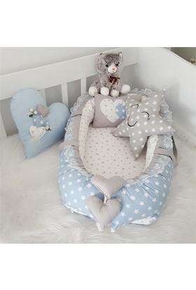 Modastra Babynest Gri - Beyaz Desenli Uyku Seti Baby Nest