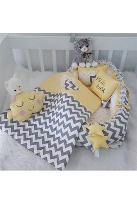 Modastra Babynest Sarı Gri Zigzaglı Uyku Seti Baby Nest