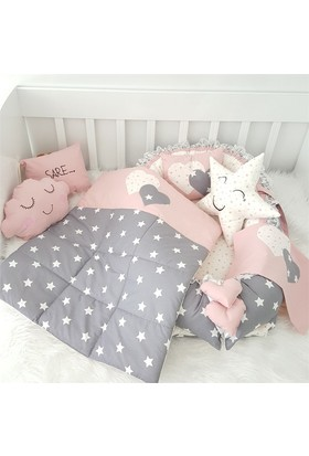 Modastra Babynest Pembe Beyaz Yıldız Desenli Uyku Seti Baby Nest