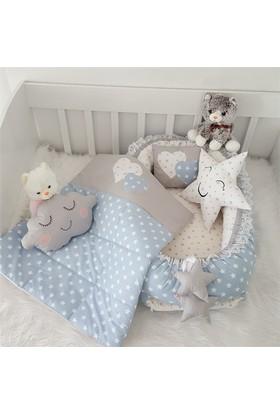 Modastra Babynest Gri Beyaz Kalp Ve Yıldız Desenli Uyku Seti Baby Nest