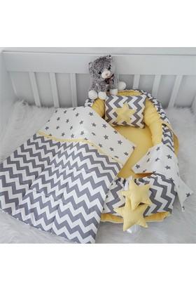 Modastra Babynest Sarı Gri Zigzag Ve Yıldız Desenli Uyku Seti Baby Nest